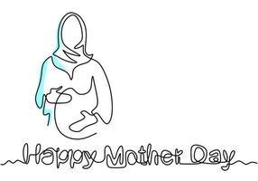 um desenho de linha contínua de mulher muçulmana grávida de mão desenhada letras feliz dia das mães isolado no fundo branco. jovem mãe muçulmana esperando o nascimento de uma criança. ilustração vetorial vetor