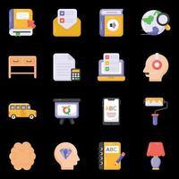 ícones de aprendizagem e conhecimento vetor