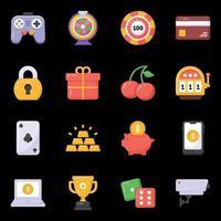 ícones de cassino e jogos de azar vetor