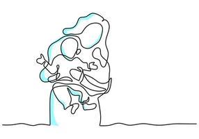 contínuo um desenho de linha da jovem mãe segurando seu bebê cartão de feliz dia das mães. uma mãe feliz com seu filho brincando juntos em casa. conceito parental feliz. ilustração vetorial no fundo branco vetor