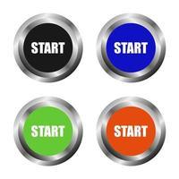 botões iniciar em fundo branco vetor