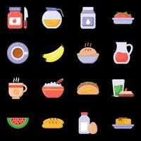 dieta saudável e ícones de frutas vetor