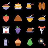 ícones de comida e dieta vetor