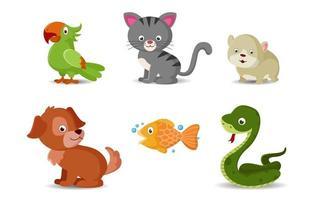coleção de desenhos animados de animais de estimação vetor