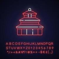 ícone de luz neon do templo do céu vetor