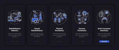 tela da página do aplicativo móvel de integração com tecnologia assistiva com conceitos vetor