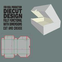 caixa corte e corte projeto caixa molde linha quatro parede única bandeja colada painel de canto colado dobragem desabotoada para dentro como display com tampa colada dobrável vetor
