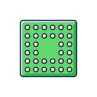 ícone de cor rgb de soquete cpu vetor