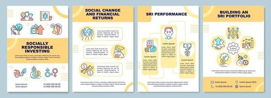 modelo de folheto de investimento socialmente responsável vetor