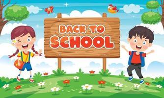 conceito de volta às aulas com crianças engraçadas vetor