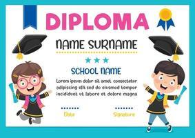 certificado de diploma para crianças de pré-escola e ensino fundamental vetor