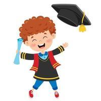 desenho animado criança feliz em traje de formatura vetor