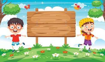 ilustração de placa de sinalização de madeira em branco vetor