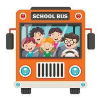 crianças felizes e ônibus escolar vetor