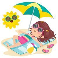 personagem de desenho animado tomando sol na praia vetor