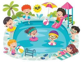 crianças engraçadas nadando na piscina vetor
