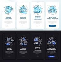 desafios do turismo verde integrando a tela da página do aplicativo móvel com conceitos vetor