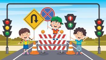 projeto de conceito com sinais de trânsito vetor