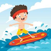 personagem de desenho animado feliz surfando no mar vetor