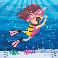pequeno personagem de desenho animado mergulhando no oceano vetor