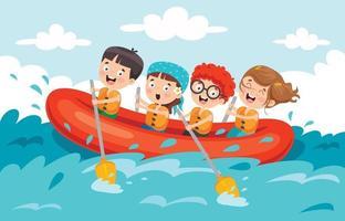 grupo de crianças fazendo rafting vetor