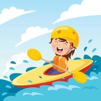 personagem de desenho animado com uma canoa vetor
