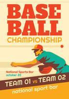 Flyer de parque de beisebol vetor