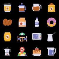 ícones de café e utensílios de cozinha vetor