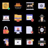 crimes cibernéticos e ícones de hackers vetor