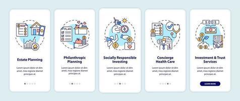 tela de página de aplicativo móvel de integração de serviços de consultoria patrimonial com conceitos vetor