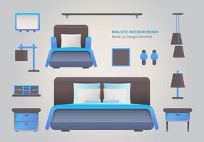 Elemento de Design de interiores de quarto de cama realista vetor