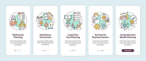 tela de página de aplicativo móvel de integração de serviços de gestão de patrimônio com conceitos vetor