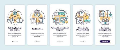 tela de página de aplicativo móvel abrangente planejamento de riqueza com conceitos vetor