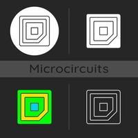 ícone de tema escuro de marca de canto da CPU vetor