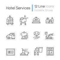 conjunto de ícones lineares de serviços de hotel vetor
