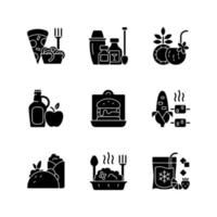 opções de coleta e entrega ícones de glifo preto definidos no espaço em branco vetor
