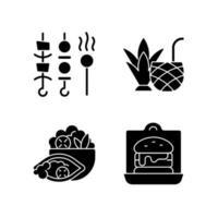 ícones de glifo preto de opção de entrega e para viagem definidos no espaço em branco vetor