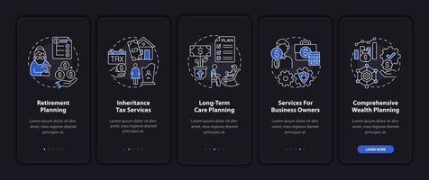 tela de página de aplicativo móvel de integração de gerenciamento de prosperidade com conceitos vetor