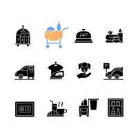 ícones de glifo preto de serviços de hotel em espaço em branco vetor