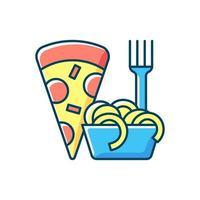 ícone de cor rgb de comida italiana para viagem vetor