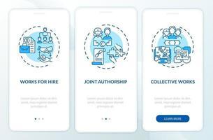 leis de direitos autorais regras especiais integrando a tela da página do aplicativo móvel com conceitos vetor