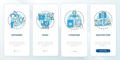 objetos de direitos autorais que integram a tela da página do aplicativo móvel com conceitos vetor