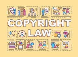 banner de conceitos de palavras de leis de direitos autorais vetor