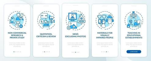 exceções de direitos autorais na tela da página do aplicativo móvel com conceitos vetor