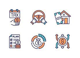 conjunto de ícones de cores rgb de gerenciamento de orçamento vetor