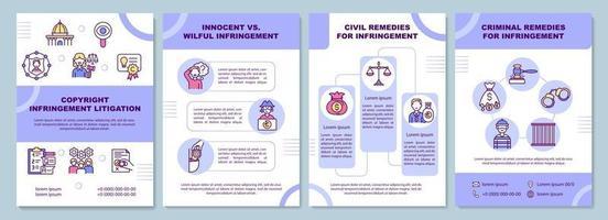 modelo de folheto de litígio de violação de direitos autorais vetor