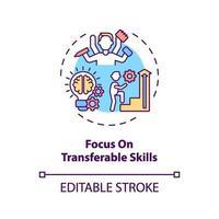 foco no ícone do conceito de habilidades transferíveis vetor