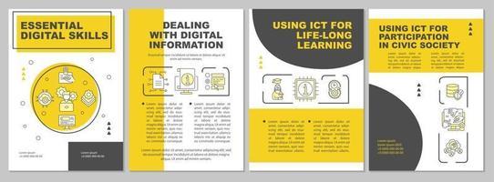 modelo de folheto de habilidades digitais essenciais vetor