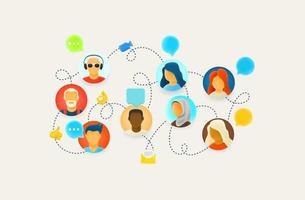 colegas de trabalho trabalham via conexão com a internet vetor