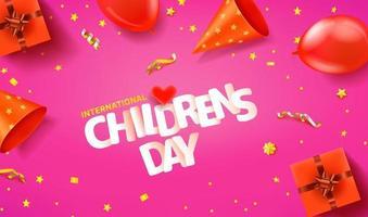 banner de saudação horizontal do dia internacional da criança vetor